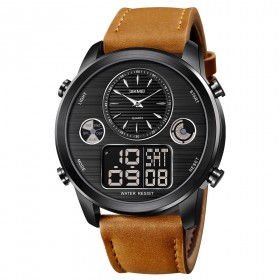 SKMEI 1653 duálny hodinky Big Face Čierno hnedé
