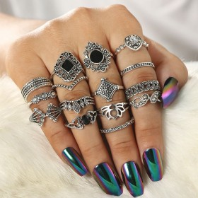 Sada Bohém prsteňov Antique 15ks Inessa