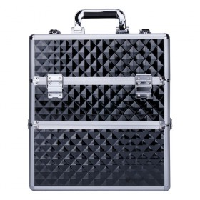 DIAMOND dvojposchodový kozmetický kufor XXL Čierny diamant