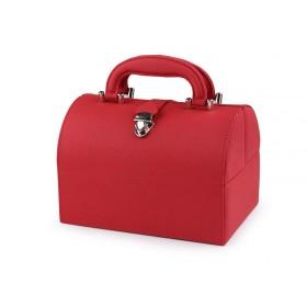 Perleťová šperkovnica kufrík Červená