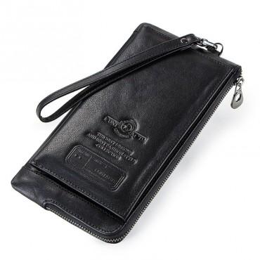 Contacts® pánska kožená peňaženka Petun Čierna
