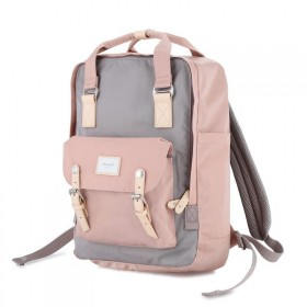 Himawari XL dámsky batoh Bryant Šedo-ružový